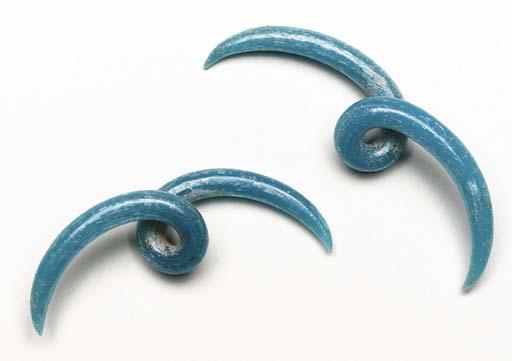 A Pair of Blue Glass Ear Ornam