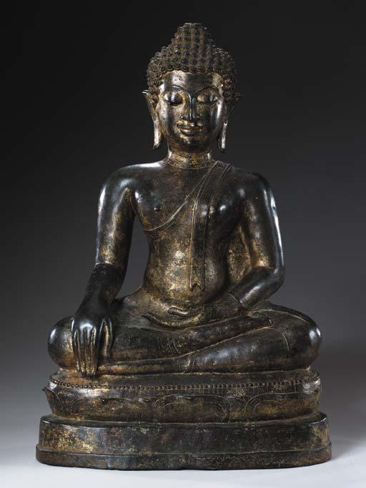 A Large Bronze Figure of Buddh