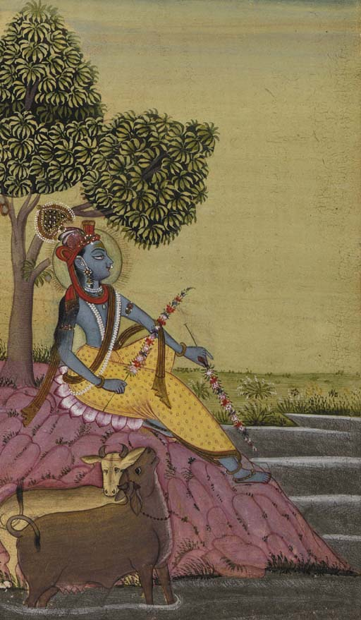 A Painting of Krishna with cow