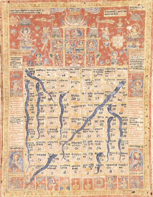 """A Jain Diagram of Gyanbazi, """"Snakes and Ladders"""""""