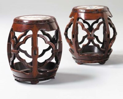 A Pair of Marble-Top Hongmu Dr
