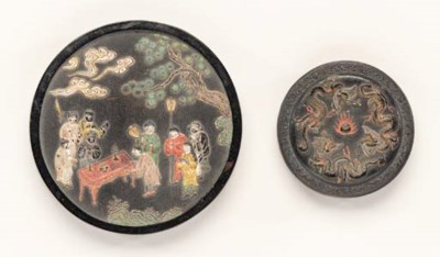 Two Polychrome Circular Inkcak