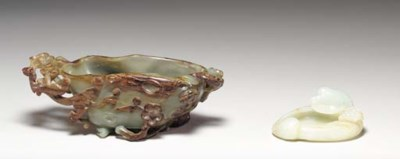A Russet and Celadon Jade Wate