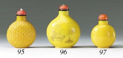 An Opaque Yellow Glass Bottle