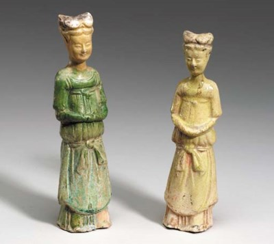 Two Small Glazed Pottery Figur