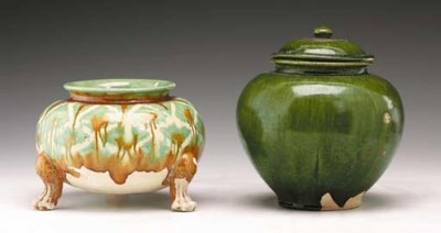 Two Glazed Buff Pottery Vessel