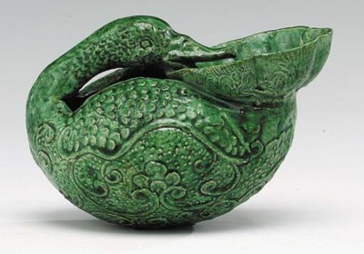 A Rare Green-Glazed Pottery Du