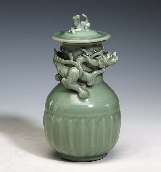 A Longquan Celadon Jar and Cov