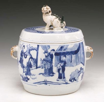A Rare Blue and White Drum-For