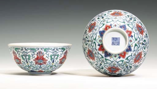 A Fine Pair of Doucai Bowls