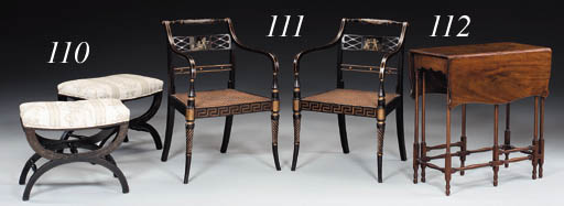 A PAIR OF REGENCY BLACK AND PO