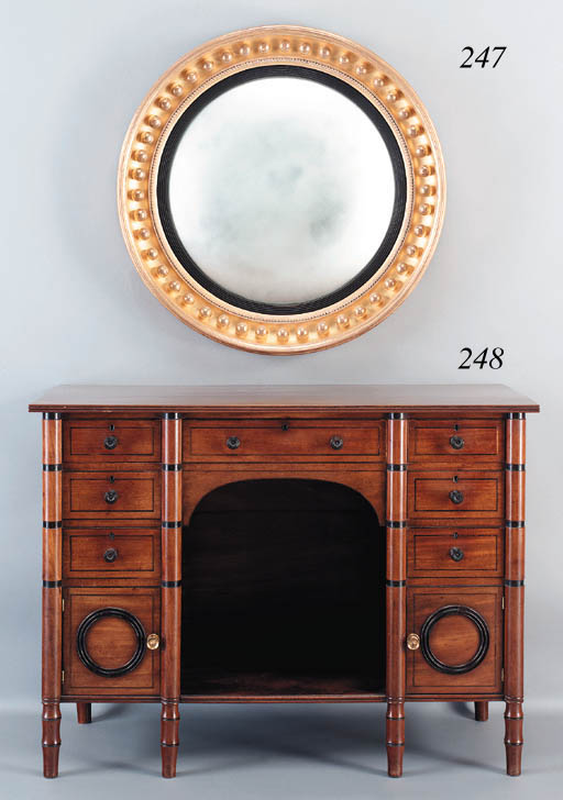 A REGENCY GILTWOOD AND EBONIZE