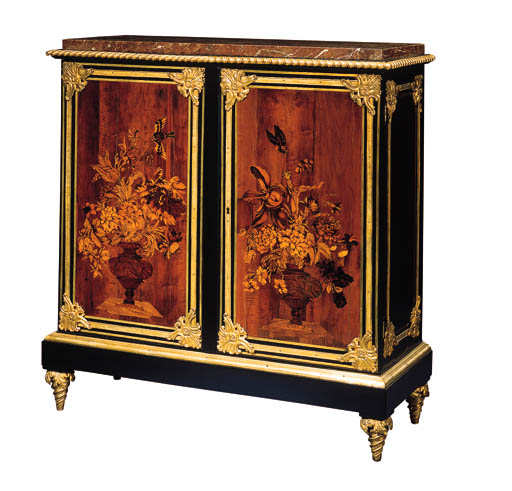 A LOUIS XVI ORMOLU-MOUNTED EBONY, FRUITWOOD AND FLORAL MARQUETRY MEUBLE D'ENTRE DEUX