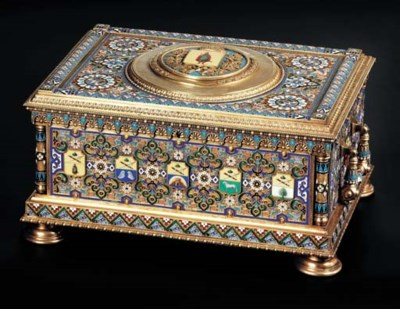 A large silver-gilt and enamel