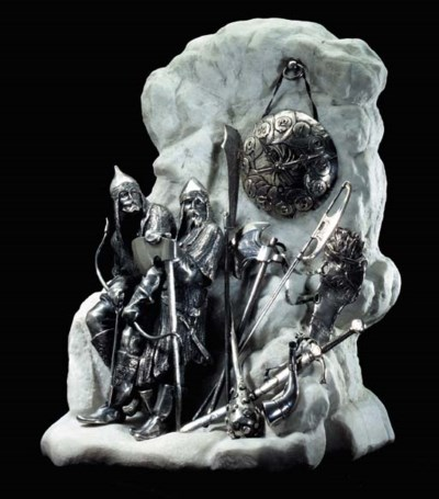 A LARGE SILVER-MOUNTED MARBLE