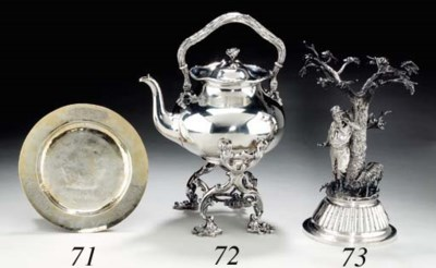 A silver tea-kettle and stand