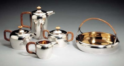 A silver part tea and coffee s