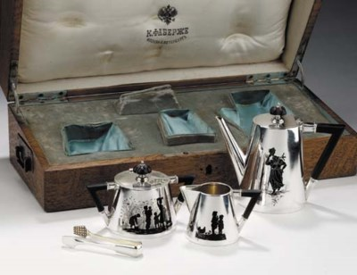 A SILVER AND ENAMEL COFFEE SET