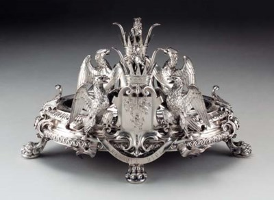 A FRENCH SILVER HERALDIC TUREE