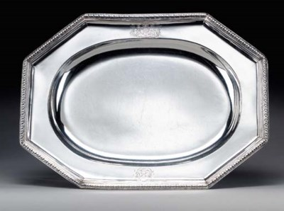 A GEORGE I SILVER MEAT DISH