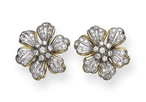 A PAIR OF DIAMOND FLOWER EAR CLIPS, BY TIFFANY & CO.