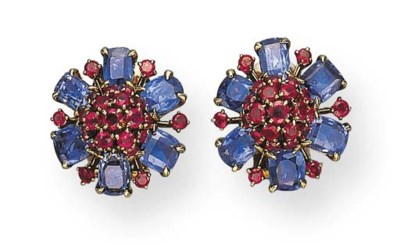 A PAIR OF SAPPHIRE AND RUBY FL