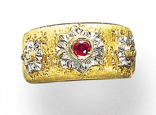 A RUBY, DIAMOND AND BI-COLORED GOLD RING, BY MARIO BUCCELLATI