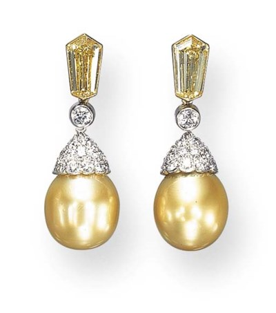 A PAIR OF GOLDEN CULTURED PEAR
