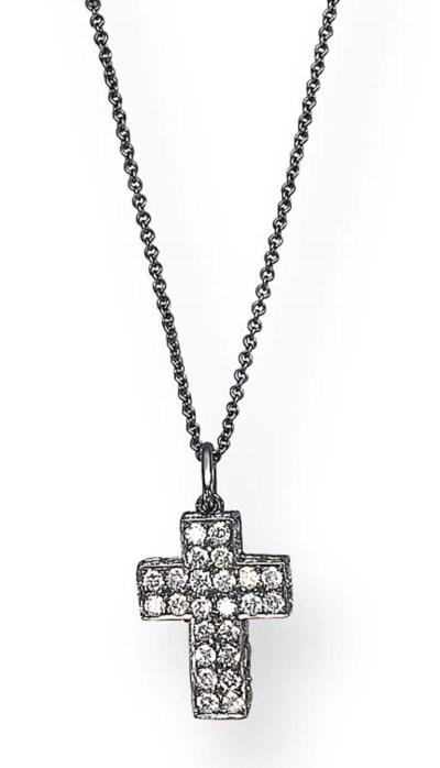 A DIAMOND CROSS PENDANT, BY MI