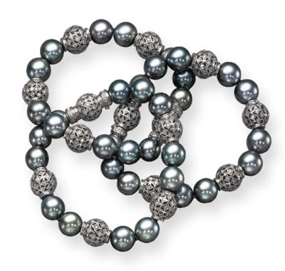 THREE GRAY CULTURED PEARL AND