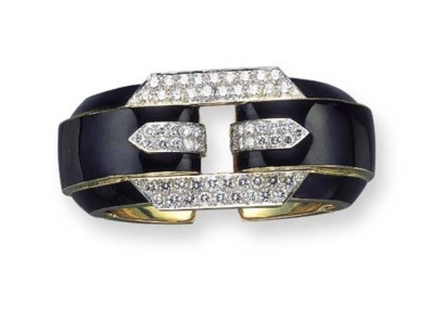 A DIAMOND AND BLACK ENAMEL BAN