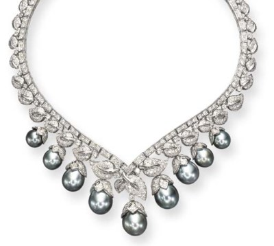 A GRAY CULTURED PEARL AND DIAM