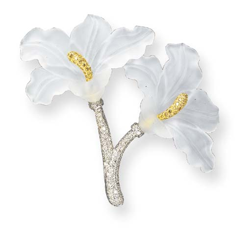 A ROCK CRYSTAL, COLORED AND NEAR COLORLESS DIAMOND FLOWER BROOCH