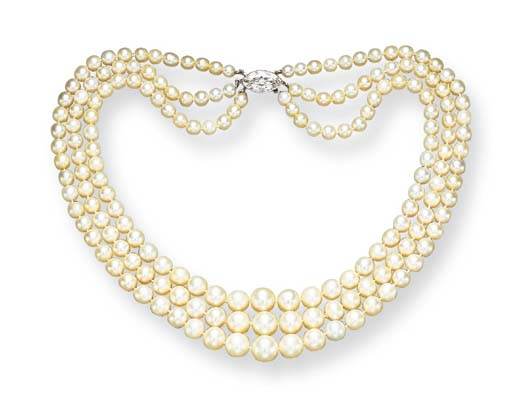 AN ELEGANT THREE-STRAND NATURAL PEARL AND DIAMOND NECKLACE, BY BAILEY, BANKS & BIDDLE