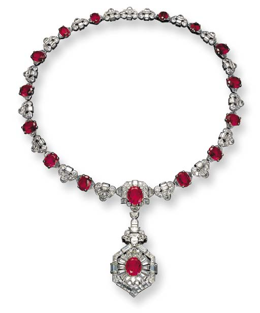 AN ELEGANT ART DECO SIMULATED RUBY AND DIAMOND NECKLACE, BY OSTERTAG