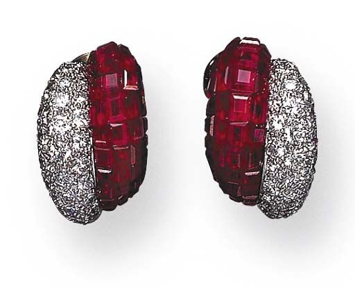 A PAIR OF INVISIBLY-SET RUBY AND DIAMOND EAR CLIPS, BY VAN CLEEF & ARPELS
