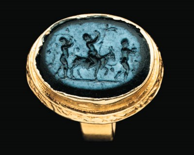 A ROMAN GLASS RING STONE