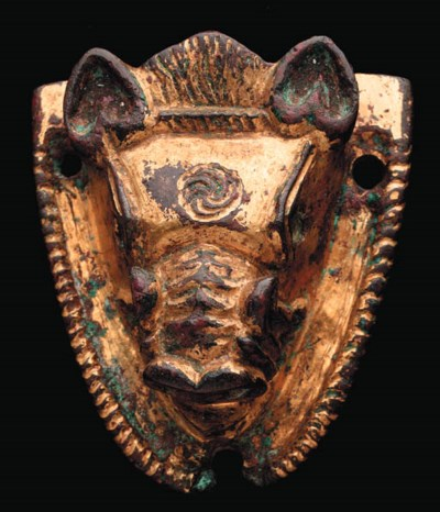 A ROMAN GILT BRONZE FITTING