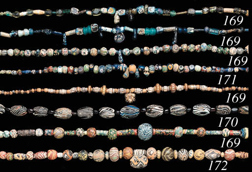 FIVE ANCIENT GLASS BEAD NECKLA