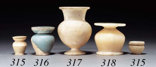 AN EGYPTIAN ALABASTER KOHL POT