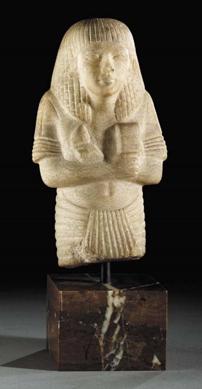 AN EGYPTIAN ALABASTER SHABTI