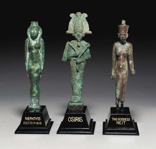 THREE EGYPTIAN BRONZE FIGURES