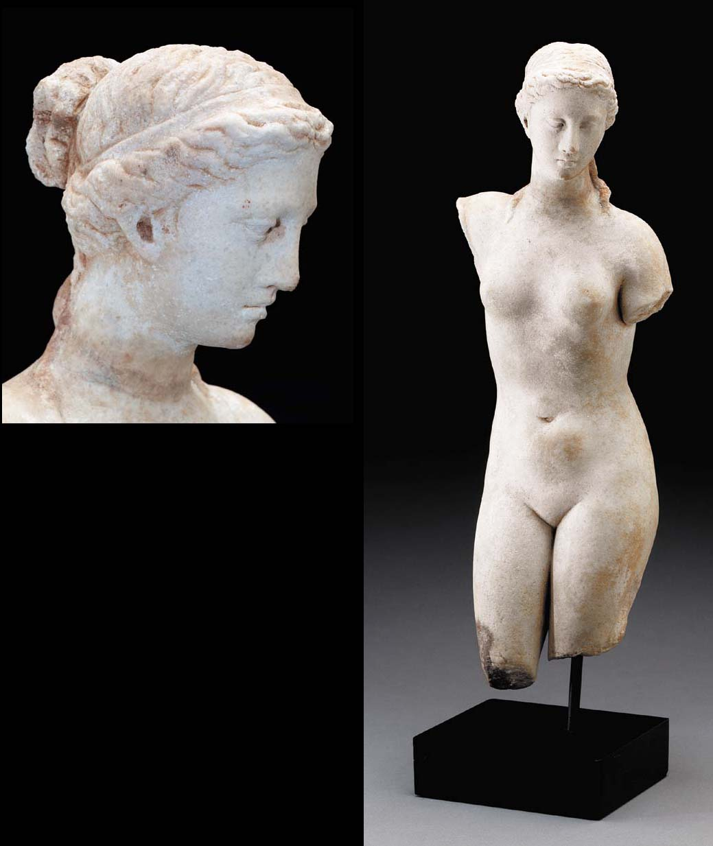 A GREEK MARBLE FIGURE OF APHRO