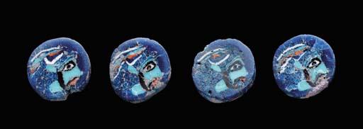 FOUR EGYPTIAN GLASS INLAYS