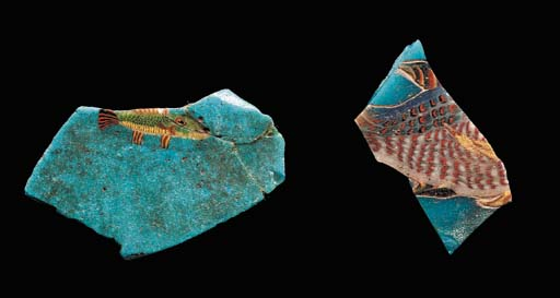 TWO ROMAN MOSAIC GLASS FRAGMEN