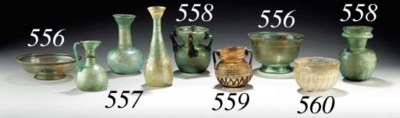 A ROMAN RIBBED GLASS BOWL