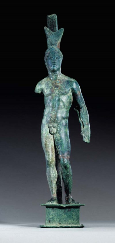 A ROMAN BRONZE FIGURE OF A WAR