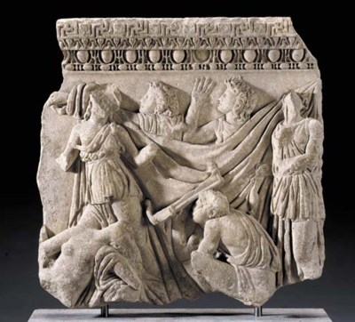 A ROMAN MARBLE FRAGMENT FROM A