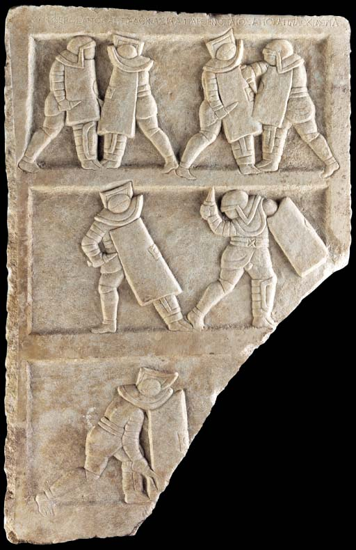 A ROMAN MARBLE RELIEF WITH GLA