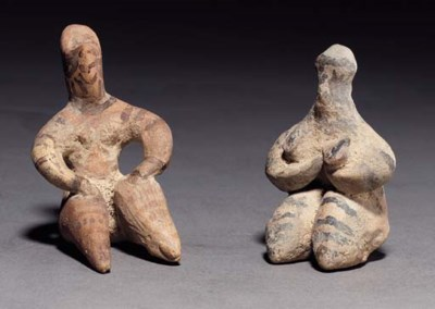 TWO SYRIAN TERRACOTTA FEMALE F